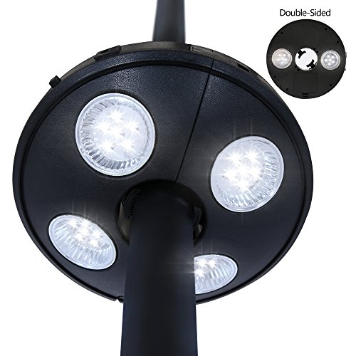 Baner Garden TD37 Patio Umbrella Light,Cordless 24 LED Downshine Lights and 12 LED Uplit Lights,Umbrella Pole Light for Patio Umbrella or Outdoor Use (Black) by Baner Garden