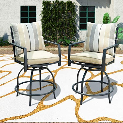 PatioFestival Swivel Bar Stools Patio Height Bistro Chairs Set of 2 PCS Outdoor Conversation Sectional