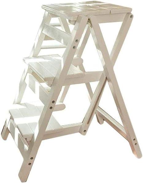 ANXWA Escaleras Multifunción Multiusos Taburetes con Peldaños Escalera Plegable De Madera Maciza Taburete con Escalones Banco Escalera Pequeña Escalera De Madera con Peldaños,White: Amazon.es: Hogar