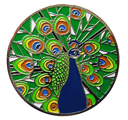 Be The Ball 4U Peacock Awesome Display 27.4mm Round Green Tail Golf Ball Marker and Matching Peacock Tail in Shape Hat Clip