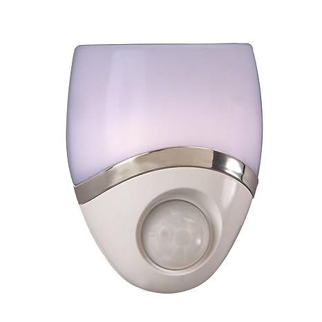 Luz nocturna LED enchufe en, sensor de movimiento, color blanco y níquel