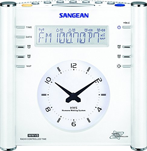 Sangean RCR-3 RCR-3 AM/FM Atomic Digital/Analog Clock Radio (White) (Renewed)