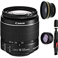 Canon 18-55mm IS STM Lens (WHITE BOX) + High Definition Wide Angle Auxiliary Lens + High Definition Telephoto Auxiliary Lens + Deluxe Lens Cleaning Pen