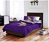4 Piece NFL Minnesota Vikings Comforter Twin Set, Sports Patterned Bedding, Featuring Team Logo, Fan Merchandise, Team Spirit, Football Themed, National Football League, Purple, Yellow, Unisex