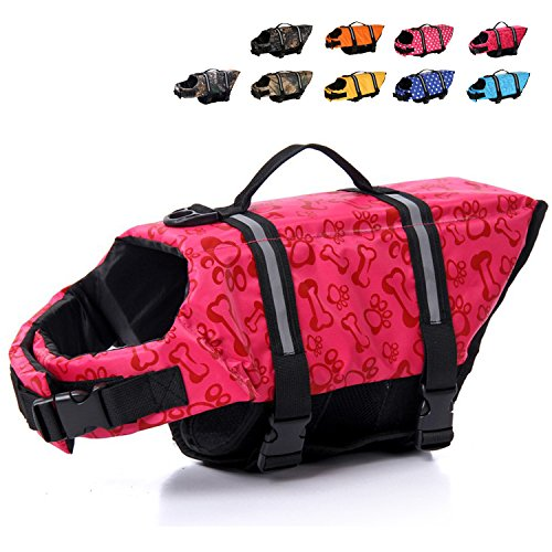 HAOCOO Dog Life Jacket Vest Saver Safety Swimsuit Preserver with Reflective Stripes/Adjustable Belt for All Size Dogs?Pink Bone,XXS