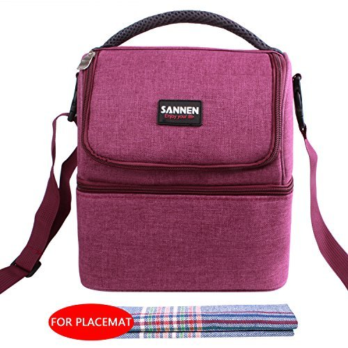 Insulated Lunch Bag Double Decker Lunch Box Oxford Tote Bag Reusable Lunch Tote Bag 7L Lunch Organizer for Men Women Kids Picnic Working Study  7L Wind Red