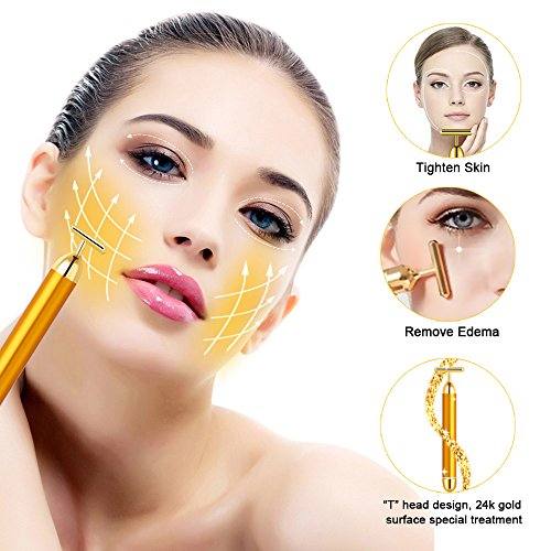Tosun 24k Golden Facial Massager Beauty Bar, High Frequency Vibration Face Massage Tool for Face Lift, Anti-Wrinkles,Skin Tightening and Eliminate Dark Circles by Tosun (Image #1)