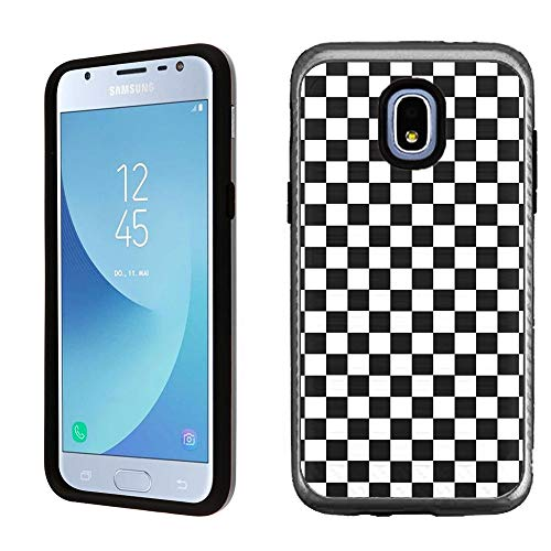 Protector Checkers Case (Dual Layer Case for Samsung Galaxy J3 Orbit, One Tough Shield Hybrid Shockproof Protector Phone Case with Brushed Texture - Checker B/W)