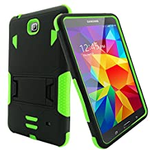 """Bvgande Samsung Galaxy Tab 4 8"""" 8.0 8-inches Tablet Case Built-in Kickstand Cover - [Todt Series] [Full-body Tough Rugged Hybrid Drop Proof Protective Case], Dual Layer Design/Impact Resistant Bumper Prime (Black/Green)"""