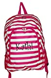 High Fashion Print Medium Sized BackpackCustom Personalization Available (Personalized Pink Stripe)
