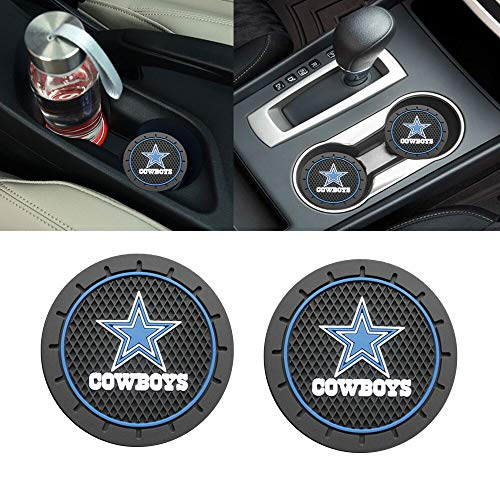 2PCS 2.8 Inch Dallas Cowboys Logo Silicone Cup Holder Coaster,Tough Auto Cup Holder Mat Anti Slip Coaster Durable Car Interior Accessories for All Brands of Cars.(Dallas Cowboys)