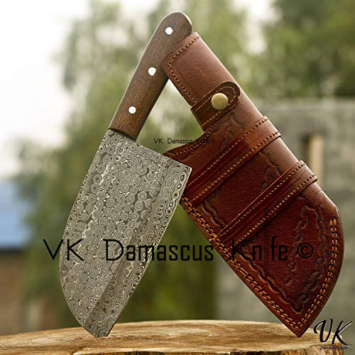 Handmade Damascus Steel Kitchen Chef Cleaver Chopper Knife Micarta Handle 11 Inches VKY0224