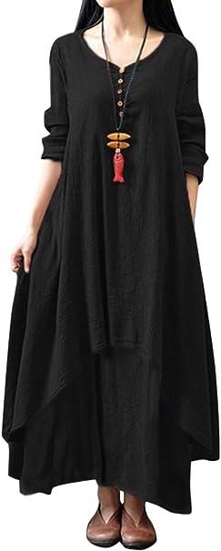 Romacci Frauen Boho Kleid Casual Lose Kleid Langarm Vintage Maxikleid Kaffee Orange Armee Grun Schwarz Burgund Amazon De Bekleidung