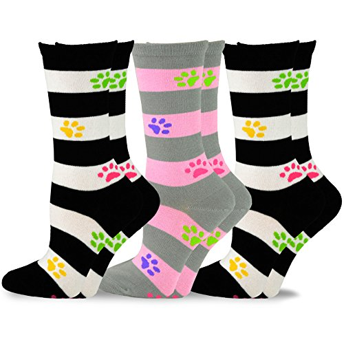 Rugby Stripe w/Paws Women's Cotton Crew Socks 3pk (2 pack of black and white and 1 pack of pink and grey ) size -