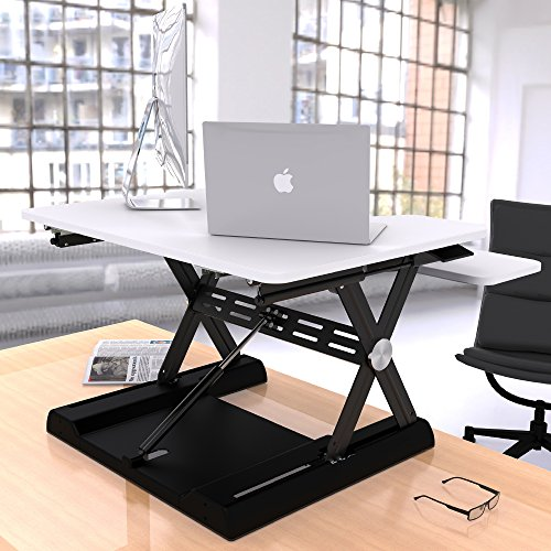 OLLO: Variable height, sit-stand workstation with gas spring power, 30'' wide, 4.4-17.5'' lift (OD-30 White) by OLLO (Image #1)