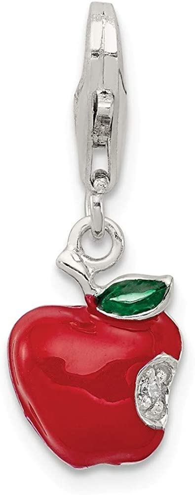 Solid 925 Sterling Silver Red Enameled Apple Charm Pendant - 13mm x 9mm