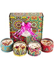 Scented Candles with Dried Flowers Candle Gifts Set, 4.4 Oz Soy Wax Burn Time 120 Hours Aromatherapy Holiday Gift with Pull Bow, Pack of 4