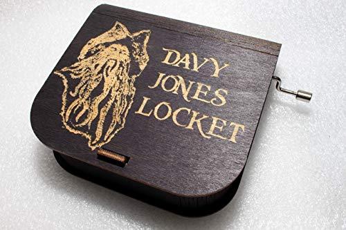 Davy Jones Locket Music Box #2 - Pirates Of The Caribbean Davy Jones Locket Jack Sparrow - Engraved Wooden Box - Hand Crank Movement