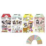 Fujifilm Instax Mini Film 4 Pack Bundle! Disney MICKEY & Friends, Pooh, RiLakkuma, Little Twin Stars 10 X 4 = 40 Sheets Assort Set +  Photo Frame Stickers 20 pcs
