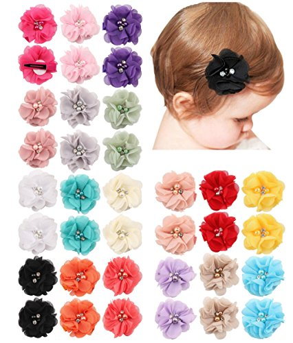 (QandSweet 36 Pack Baby Girl's Hair Clips with Hand-Sewn Beads Flower Girl Teens Kids Toddlers)