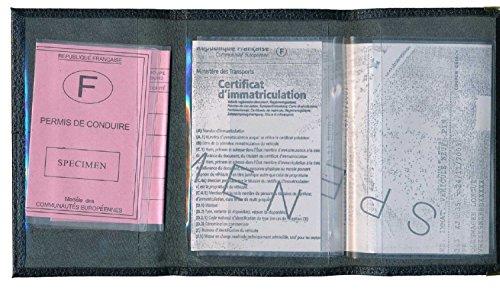 Schutz Tasche Leder Schutzhülle für Kfz-Papiere-FÜHRERSCHEIN Schwarzer Kreis Noir Plume Blanche Rx8n1H0Rd5