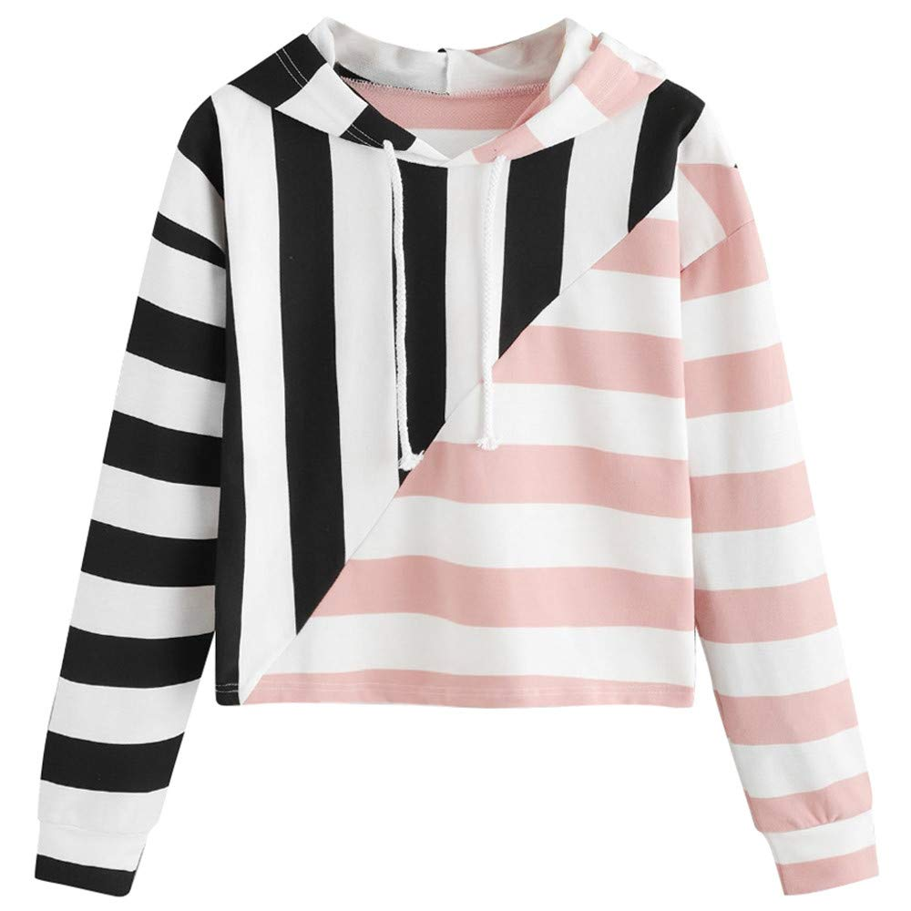 Clearance ❤ Women Sweatshirt JJLIKER Fashion Striped Hooded Pullover Long Sleeve Patchwork Casual Blouse (White, L)
