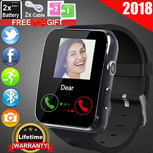 Unlocked Watch - Duperym Smart Watch for Father's Day Gift Men Women Wrist Wearable Watch with SIM Slot - Unlocked Cell Phone Watches with Pedometers Fitness Trackers for Outdoor Sports for Android iPhone