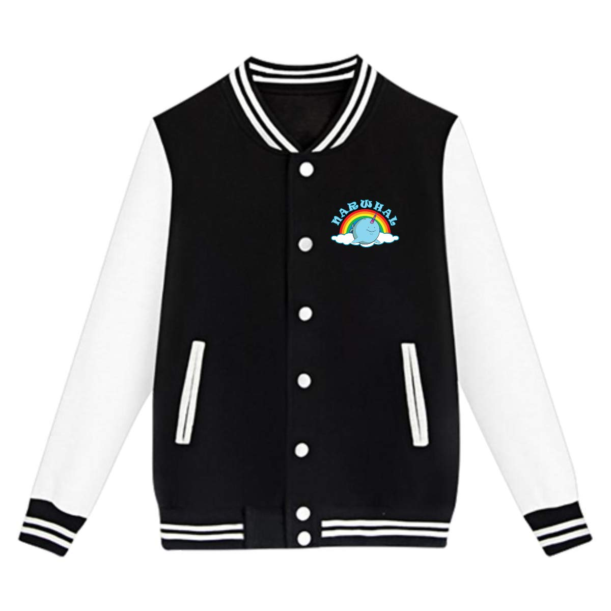 Narwhal Rainbow Teenage Baseball Jackets Uniform Boys Varsity Jackets