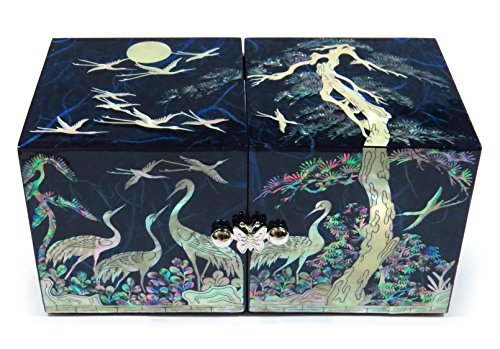 Asian Jewelry Box - Cube Jewelry Box Mother of Pearl Inlay Lacquered Crane Pine Tree (Blue)