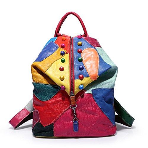La Sra Bandolera Mochila De Cuero De Color Costura