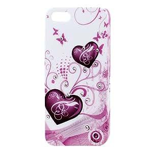 Cubierta de la caja de la mariposa del corazón con incrustaciones de diamantes de imitación Shell trasero duro para el iPhone blanco 5 5G