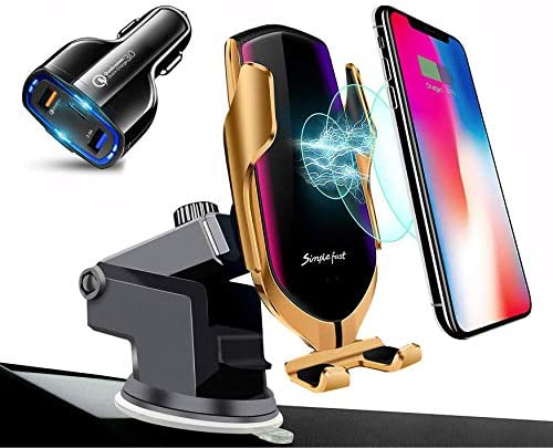 Wireless Car Charger Automatic Clamping Mount QI Fast Charging Phone Holder Dashboard Air Vent Windshield Dash Compatible with iPhone 11 Pro Max/XS Max/XR/XS/8 Plus+ Samsung Galaxy S10/S10/S9