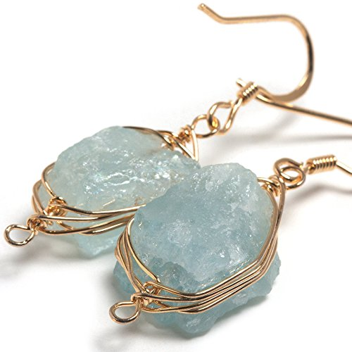 14k Genuine Aquamarine Earrings - Scutum Craft 925 Sterling Silver Hook 14K Gold Plated Natural Aquamarine Stone Herringbone Wire Wrap Earrings, Perfect Gifts for Best Friend