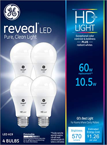 GE Lighting 93445 Bulb Reveal HD Pure Clean Light Dimmable LED A19 10.5 (60-Watt Replacement), 570-Lumen Medium Base, 4-Pack ()