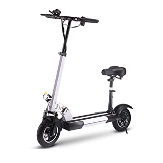 Electric Scooter Powerboard 10 Inch Collapsible Portable Electric Scooter with Cushion Endurance 40-50km Suitable for Travel and Leisure Life,White WFTD