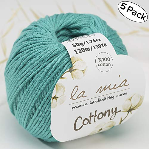 5 Ball%100 Cotton Total 8.8 oz. La Mia Cottony Each 1.76 oz (50g) / 130 Yrds (120m) Super Soft, Dk Light Baby Yarn, Green - P8 (Dk Weight Cotton Yarn)