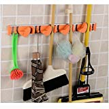 Broom Mop Dustpan Holder Organizer Garage Storage Hooks Wall Mounted, Best Tool & Closet Storage, broom Organizers Hanger / Holder with 4 Position 5 Hooks for Shelving - Orange