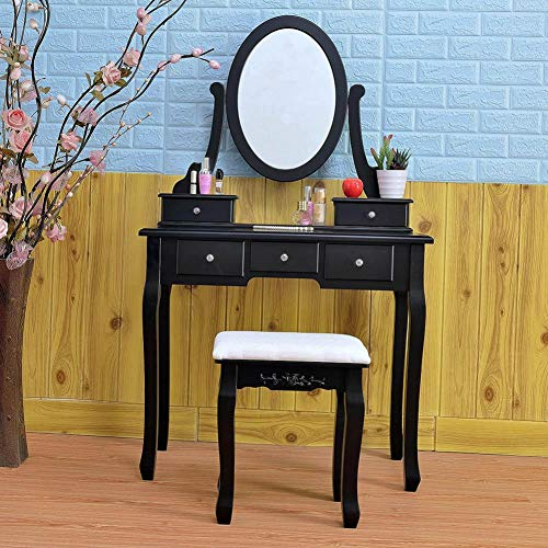 Lothver Retro Luxurious 360° Rotation Single Mirror 5 Drawers Dressing Table Black, Jewelry Makeup Dresser Desk, Multipurpose Work or Study Desk ()