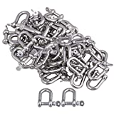 Mxfans 50PCS European Style Metal Rust Resistantance M6 D shackle Rigging Silver