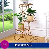 YF Iron Flower Frame Floor Style Flower Bed Frame Indoor And Outdoor Living Room Balcony Flower Rack 3 Layers (492580.5cm) (Color : Gold)