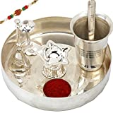 India Silver-Plated Pooja Thali Set-R7 , Silver