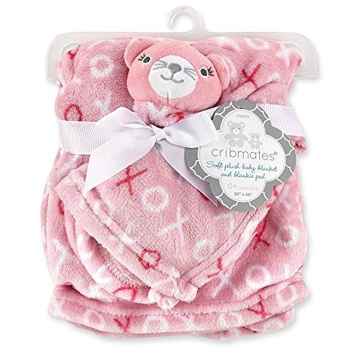 Cribmates Soft Plush Baby Blanket and Blankie Pal, Pink ()