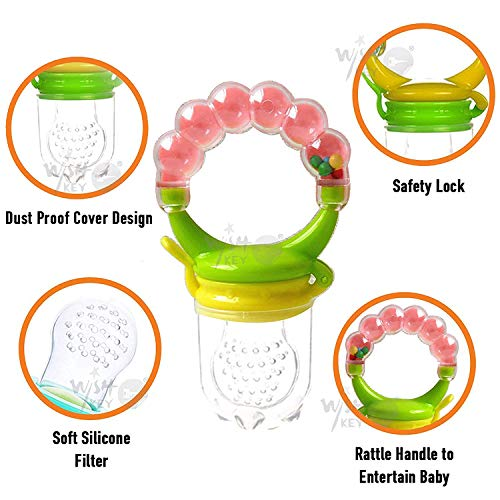 WISHKEY BPA-Free Silicone Food Nibbler for Fruit and Veggie with Rattle Handle for Baby (Multicolour, 6-12 Months)