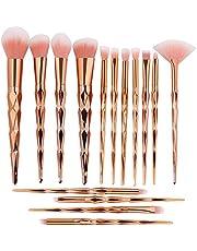 Tenmon 15pcs Unicorn Shiny Gold Makeup Brush Set Professional Foundation Powder Cream Blush Brush Kits