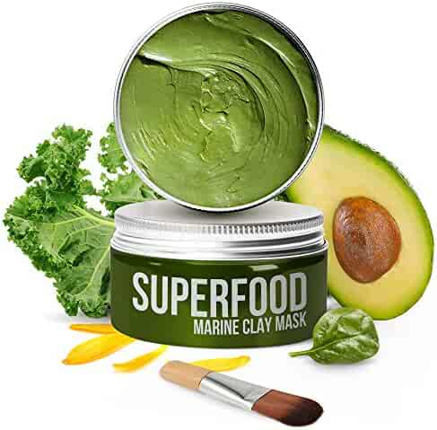 100% VEGAN Dead Sea Mud Mask with Avocado & Superfoods - Healing Clay for FACE and BODY - Blackhead Remover - Cleanse and Detoxify the Skin - Clay Mask for Face - natural face masks for acne