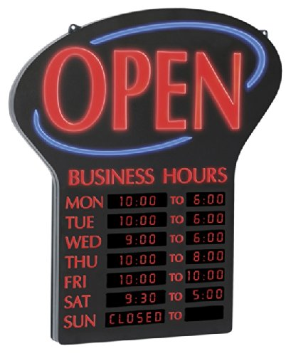 "Newon LED Lighted Business""Open"" Sign, Electronic Programmable Business Hours Sign with Flashing Effects, 23.4"" x 20.4"", Red/Black (6093)"