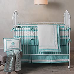 Lambs & Ivy Classic Aqua 3-Piece Crib Baby Boy Bedding Set