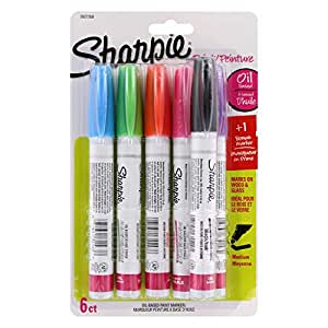 Sharpie Oil-Based Paint Markers, Medium Point, Assorted Fashion Colors, 5-Count Plus Bonus Marker