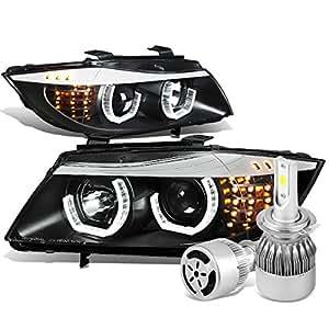 BMW E90 3-Series Black Housing 3D Crystal Halo Projector Headlight W/ Corner Signal + H7 LED Kit W/ Fan