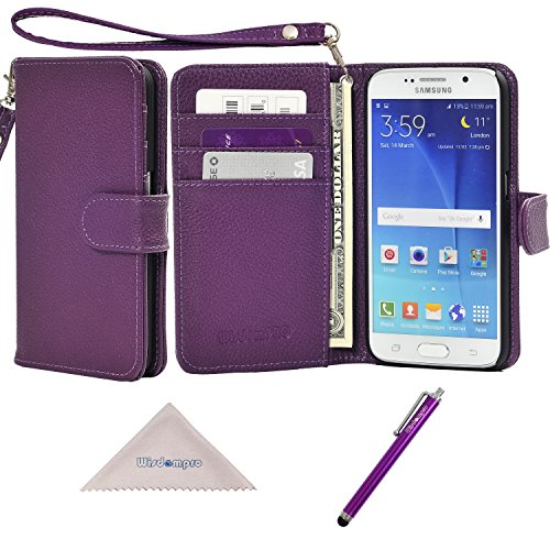 S6 Case, Wisdompro Premium PU Leather 2-in-1 Protective [Folio Flip Wallet] Case with Credit Card Holder/Slots and Wrist Lanyard for Samsung Galaxy S6 - Purple